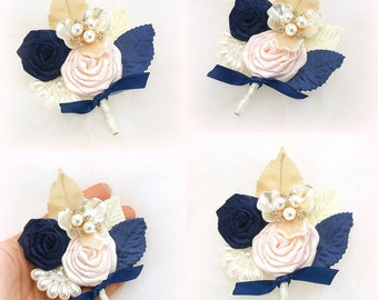 Navy Boutonnieres,Groomsmen,Groom Boutonniere,Blush,Navy Blue,Gold,Corsages,Brooch Boutonnieres,Mother of the Bride,Navy Bouts,Button Holes