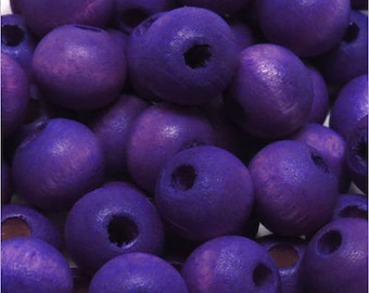 Set of 50 round wood beads 8mm blue lavender