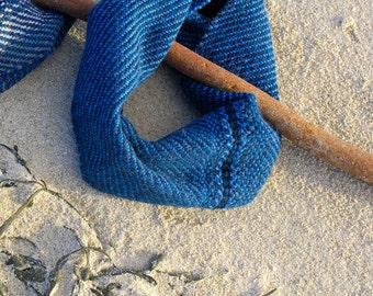 True blue snug handwoven in Alpaca and Shetland