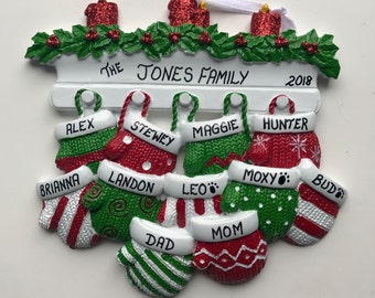 11 Family Mittens Personalized Christmas Ornaments / Family of Eleven Ornament / Mittens on the Mantel Family Ornament