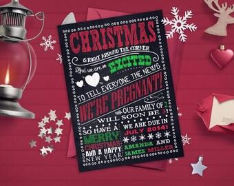 christmas pregnancy announcements chalkboard santa sleigh