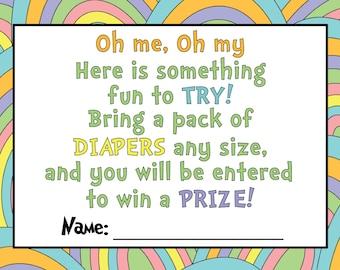 Dr. Seuss Diaper Raffle Ticket for Baby Shower