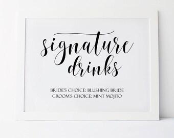 Signature Drink Sign, Wedding Signs, Signature Drink Sign Printable, Wedding Printables, Signature Drink, Signature Drink Printable