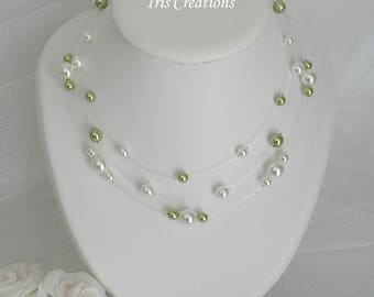 Wedding Noumea lime green and white pearls renaissance necklace