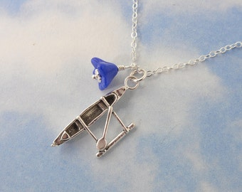 Paddler necklace - sterling silver outrigger canoe charm, sterling silver chain - paddling, ocean, beach, Hawaii - free shipping USA