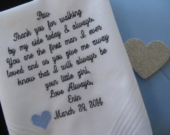 Embroidery 40 words of your choice. Dad wedding handkerchief. Free Gift Box included.