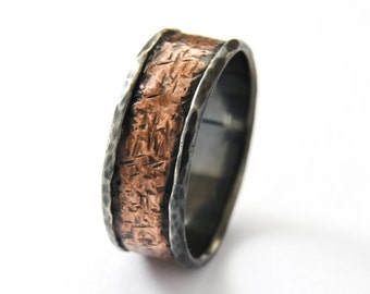 Rustic band, silver Copper men ring,Oxidized Silver band, Wide band, durable ring for men,mixed metals wide ring, Copper band, two tone ring