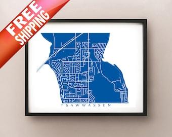 Tsawwassen Map Poster Print - BC, Canada