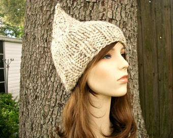 Knit Hat Womens Hat - Oatmeal Gnome Hat Oatmeal Knit Hat - Oatmeal Hat Womens Accessories Winter Hat