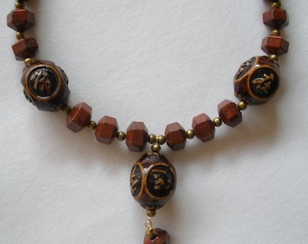 Good Fortune Brown Jasper and Wood Necklace