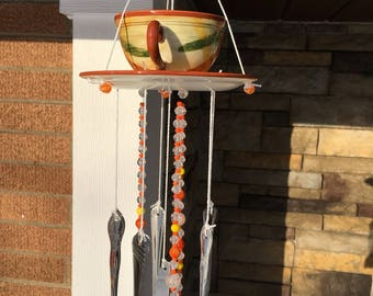 Vintage Up Cycled Wind Chime Bird Feeder-Stoneware Cup  Saucer, Flatware-Glass and Crystal Beaded Strings-Mothers Day Gift-Birthday-Retro