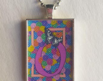 Butterfly O Charm, Resin Pendant, Hot Pink Jewelry, Colorful Necklace, Monogram, Alphabet Letter O, Initial Pendant, Personalized, Rainbow