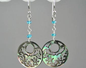 Round Filigree Pendant Dangle Earrings Silvery Iridescent Black Mother of Pearl