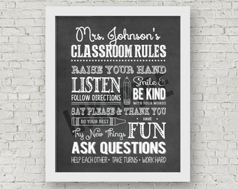 DIGITAL FILE | Personalized Classroom Rules | Teacher Thank You Gift | Teacher Appreciation Gift | Classroom Sign | Classroom Decor