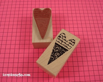 Scalloped Heart Stamp / Invoke Arts Collage Rubber Stamps