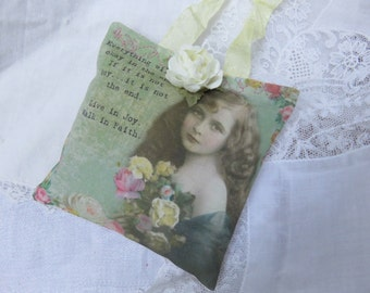 Pink Cream Roses Heartfelt Inspirational Gift Sachet, Mother's Day, FREE USA SHIPPING, Gift Ready, Victorian Girl, Support, Cancer