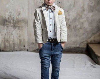 Baptism outfit-Boy Outfit 3pcs-Ring Bearer Outfit - Boy First Birthday Outfit-Photo outfit-Ring Boy Suit -Ecru Jacket with jean pants outfit