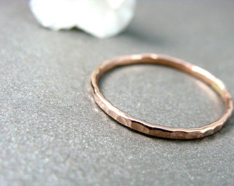 petite solid 14k rose gold stack ring