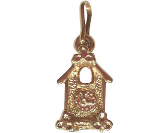 Vintage gold Plated birdhouse Charm