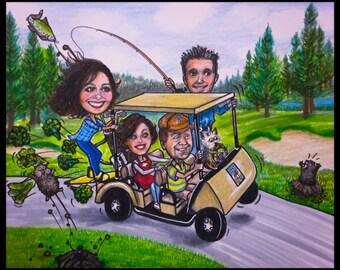 Custom caricature, Christmas card, retirement for men, retirement for women, Christmas caricature, golfing cartoon, golf caricatures,