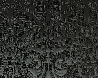 Vinyl Upholstery Fabric - Lyon - Black - Damask Designer Pattern Vinyl Home Decor Upholstery Fabric by the Yard - Available in 8 Colors