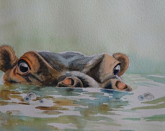 Special spa time - hippo style, in Sunlight, A3, watercolour, Contemporary art littlecl@mail.ru