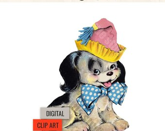 "Digital Vintage Image Clipart, ""Dusty"" Puppy Dog Birthday"