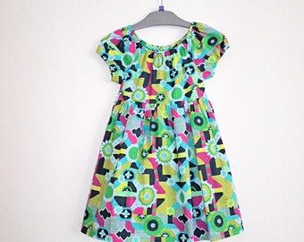 Girl's Dress, Abstract Print Dress, Child's Dress, Handmade Dress, Dress, Cotton Dress, Toddler Dress, Peasant Dress, Girl's Clothing