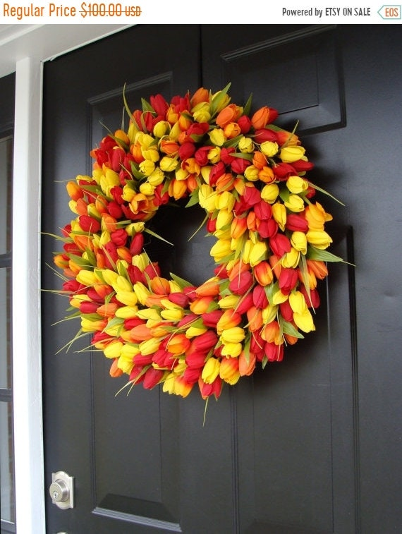 SPRING WREATH SALE Easter Wreath- Easter Decoration- Spring Wreath- Tulips- Spring Decor- Spring Decoration- Tulip Wreath