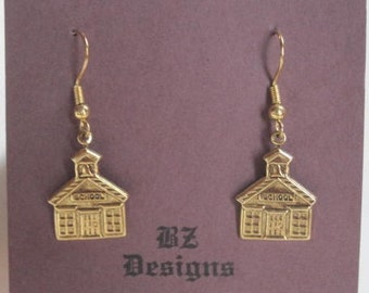 Schoolhouse Earrings, School Earrings - Great gift for Teacher, Bus Driver, Student or Education worker
