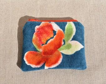 Velvet floral print coin purse