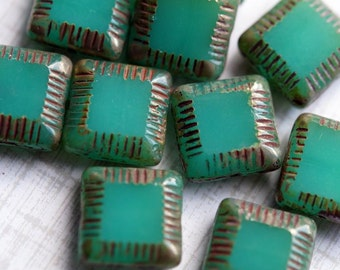 Large Milky Jade Grooved Square Pillow Beads - Picasso Beads - Emerald Opal -  Premium Czech Glass Beads