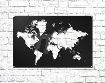 World Map Metal Wall Art
