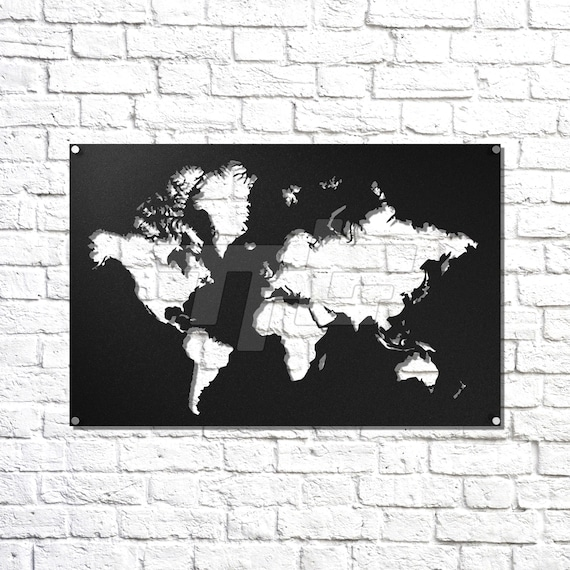 World map metal wall art gumiabroncs Image collections