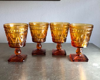 vintage amber Colony Park Lane water glass goblets stemmed glasses set of 4 mid century