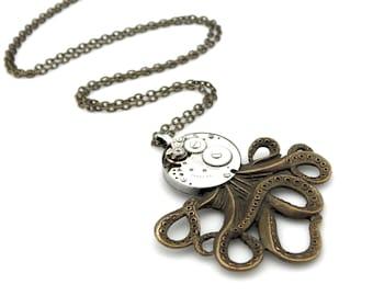 Steampunk Octopus Pendant Necklace - Clockwork Cephalopod Necklace - The Brainiacs - Clockpunk Octopus