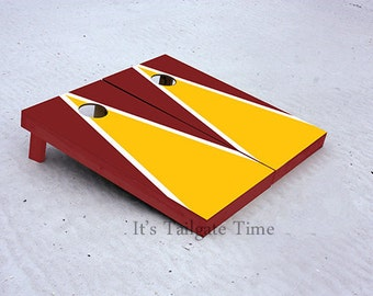 Custom Cornhole Boards Yellow and Burgandy Matching Triangle with 1x4 frames