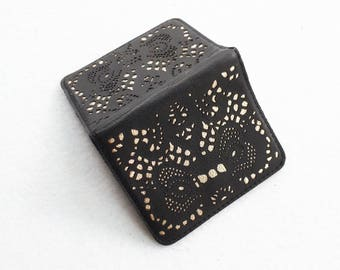 Business card case / leather card wallet / credit card holder / Gift for her / leather card holder / credit card wallet > Black leather lace
