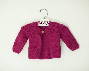 Handmade Plum Baby Sweater, Knit Baby Sweater, Purple Baby Sweater, Handmade Baby Clothes