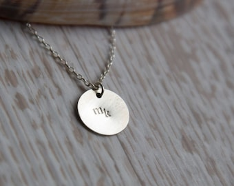 Personalised hand-stamped & initialled Sterling Silver circle pendant necklace, silver necklace, silver pendant, silver circle.