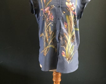 Women's Painted Blouse, Rockabilly, navy 100% Organic Cotton, Irises with gold accent *this is not a print* one of a kind, unique painting.