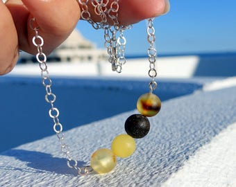 Baltic Amber Sterling Silver Necklace, Raw Amber Ball Adjustable Necklace, Unique Amber Jewelry, Amber Ball Beads On Silver Chain
