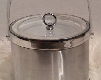 Vintage Ice Bucket Brushed Chrome Georges Briard