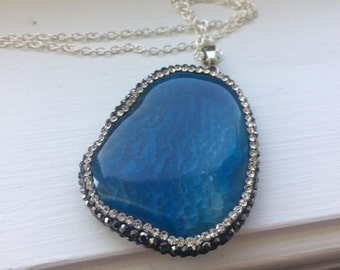 """Trendy Pave Blue Agate Pendent with Blue Stone,Stylish pendent 30""""inch silver chain"""