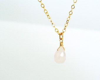 Rose Quartz Necklace/ Single Gemstone Pendant Necklace/ Dainty Gemstone Necklace