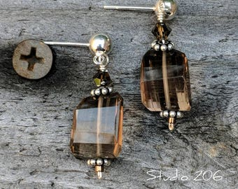 Genuine faceted smoky quartz drop earrings.