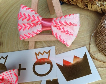 Neon Print Baby Girl Hairbow in Bright Neon Coral & Cream in Tribal Print