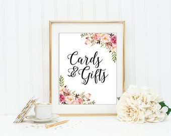 PRINTABLE Cards and gifts sign, floral wedding sign, floral gift table sign, wedding reception sign, gifts and cards, wedding signage, VF1