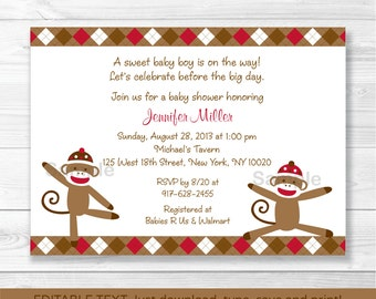 Cute Sock Monkey Baby Shower Invitation / Sock Monkey Baby Shower Invite / Argyle Pattern / Baby Boy / INSTANT DOWNLOAD Editable PDF A405