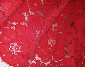 Red lace fabric by the yard, French Lace, Embroidered lace, Wedding Lace, Bridal lace, Evening dress lace, Lingerie Lace Alencon Lace L77284